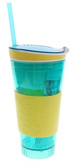 Snackeez 2 in 1 Plastic Snack and Drink Cup (Blue/Yellow)