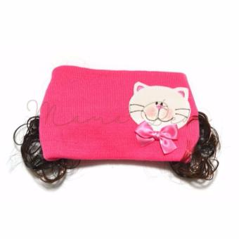 Soft Cute Cat Baby Bonnet with Synthetic Hair Baby Girl Kids WinterStretchable Beanie with Curly Hair