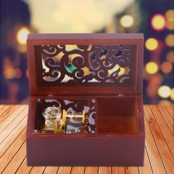 Solid Wood Miniature 18 Note Wind Up Music Box Jewelry Case (Silver Movement/Edelweiss) - intl