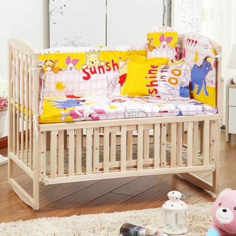... Special Promotion 5Pcs Baby Crib Bedding Set 100X58Cm Newborn BabyBed Set Crib Bumper (Forest) ...