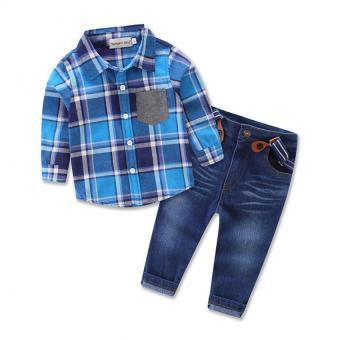 Spring and Autumn boy Clothing set Gentleman suit For boys plaidShirt + Suspender jens 2pcs set