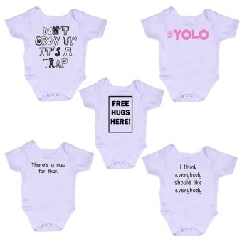 Stache Baby Onesie Romper (White) Set of 5