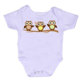 Stache Owls Print Baby Onesie Romper White