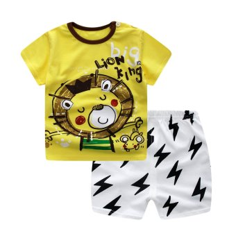 Summer Baby Boy Girl Clothing Sets Short Top + Pants 2pcs/setCartoon Sport Suit Baby Clothing Set Newborn Infant Clothing -Stripe - intl - 5