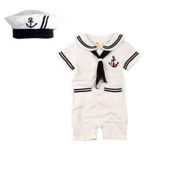 Summer Baby Rompers Infants Sailor Style Boys Short Sleeve Jumpsuit Baby Costume White with Hat - Intl