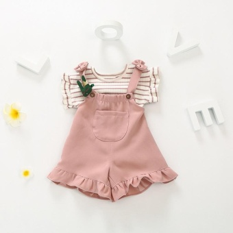 Summer Fashion Style Casual Clothing Baby Girls Clothes Sets Tops Shirts + Dress 2PCS Pink Black Color Suits