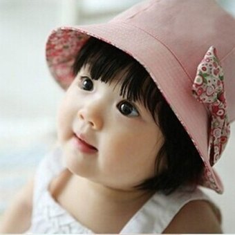 Summer Newborn Baby Girls Kids Princess Infant Flower Sun CapCotton Bucket Hat - intl