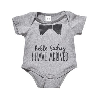 Summer Newborn Boys Girls Bodysuits & One-Pieces Cotton QuotePrint Romper Playsuit Outfits Costume - Grey - intl