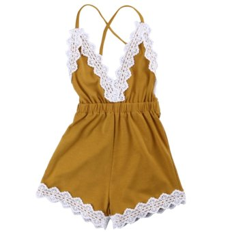 Summer Newborn Toddler Infant Baby Girl One-piece Jumpsuit RompersBodysuit Outfits Clothes Sleeveless Backless with Sweet Lace RibbonSize 70 for 0-6 Months - intl