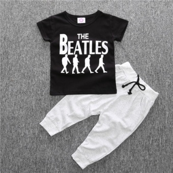 Summer print the beatles cotton shorts sleeve t-shirts sweaterpants baby clothes sets kids outfits - intl