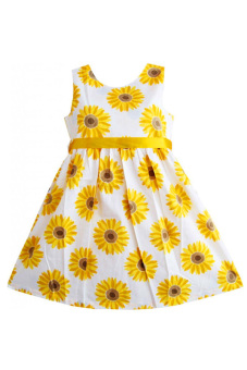 SuperCart Baby Girl Flower Print A-Line Dress (Yellow) (Intl) - picture 2