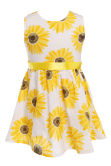 SuperCart Baby Girl Flower Print A-Line Dress (Yellow) (Intl)