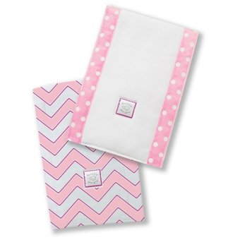 Swaddle Designs Chevron Baby Burpies Set of 2 (Pink)