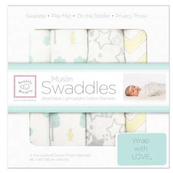 Swaddle Designs Muslin Swaddle Blankets (Set of 4) Woodland Fun