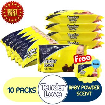 Tender Love Baby Powder Scent Baby Wipes 80's Pack of 10 GET FREE 1 Pack of Baby Wipes 20's