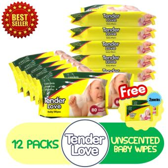Tender Love Unscented Baby Wipes 80's Pack of 12 GET FREE 2 Packs of Baby Wipes 20's