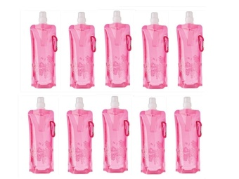 Tickle Kids Foldable Water Bottle (Pink), set of 10