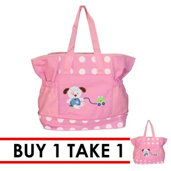 Tickle TMN-006 Baby Pink Bear Diaper Bag (Pink) Buy 1 Take 1