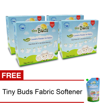 Tiny Buds Natural Baby Laundry Powder Set of 4 with Free NaturalBaby Fabric Softener 500ml
