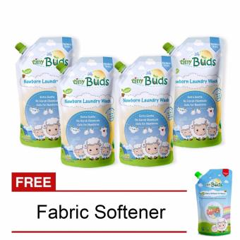 Tiny Buds Natural Liquid Laundry Wash 850ml Set of 4 with Free Tiny Buds 500ml Fabric Softener