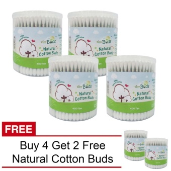 Tiny Buds Regular Natural Cotton Buds BUY 4 Get 2 Free (400 Tips)