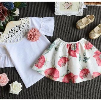 Toddler Kids Baby Girls T-shirt Tops+Skirt Dress Summer Outfits Clothes 2PCS Set - intl - 3