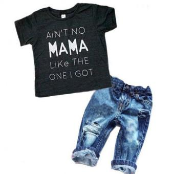 toddler kids infant baby boy clothes T-shirt top + denim pant 2pcs outfit boys jeans pants clothing set