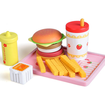 Toy Woo wooden strawberry model hamburger toys