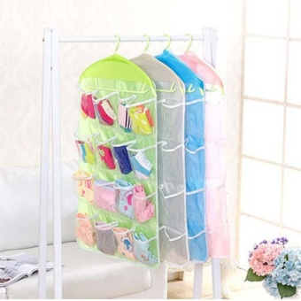 Transparent Polyester Fabric Hanging Bag with 4 Layers 16 StoragePockets Underwear Socks Storage Bags Organizer - intl - 3