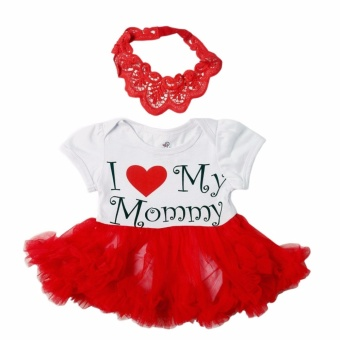Tutu Dress I Love Mommy with Headband (White/Red) for Baby 6 to 9Months Old