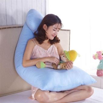 U Shape Printing Pillow Case for Gestational Pregnant Women Maternity Blue - intl - 2