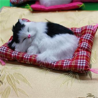 UINN New Lovely Simulation Animal Doll Plush Sleeping Cats with Sound Kids Toy Price Philippines
