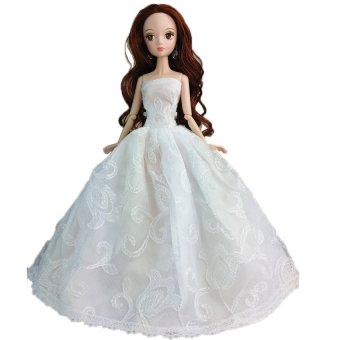 UJS Wedding Gown Dresses Outfit Girl Party For Doll Gift White Design Random (Intl)