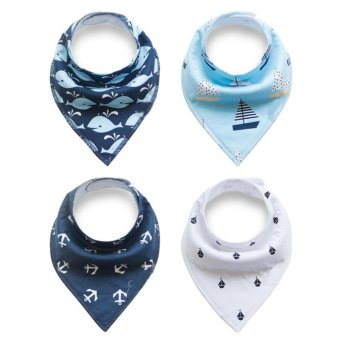 Unisex 4 pcs Cotton Triangle Baby Bibs Feeding Saliva Dribble Towel- intl