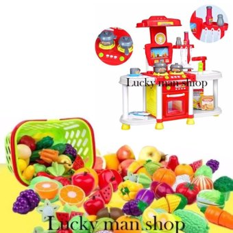 USA TOP ONE lazada and USA best selling 30 in 1 Big size Kids Children Babies Kitchen Cooking Toy Play Set with Light and Sound Educational Learning Toy Red and Plastic Cutting Fruits and Vegetables Set with Dish Play Food Set for Pretend Play