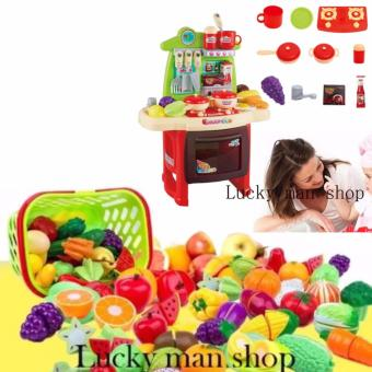 USA TOP ONE LAZADA BSET 30 in 1 Very big Kitchen Set (RED) New design with sounds and light and Plastic Cutting Fruits and Vegetables Set with Dish Play Food Set for Pretend Play