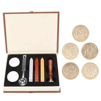 Vintage Alphabet Sealing Wax Stamp Set with Wood Handle + Spoon+Candle(C) - intl