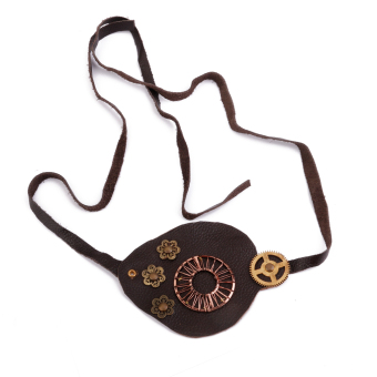 Vintage Leather Eye Patch Steampunk Gothic Cosplay Costume - Brownish Black