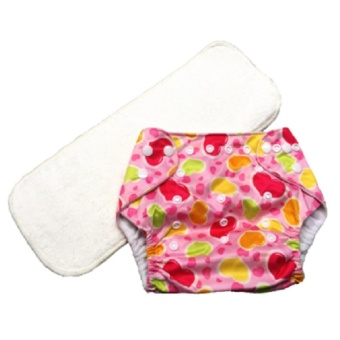 Washable Reusable Cloth Baby Diaper with 3-Layer Microfiber Insert- Pink Hearts
