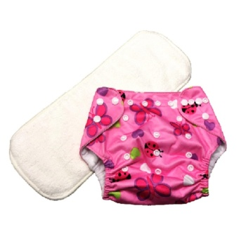 Washable Reusable Cloth Baby Diaper with 3-Layer Microfiber Insert- Pink Lady Bug