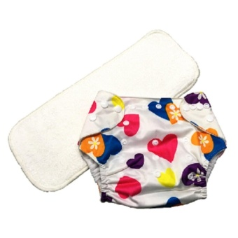 Washable Reusable Cloth Baby Diaper with 3-Layer Microfiber Insert- White Hearts