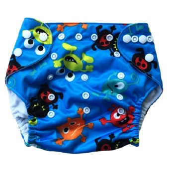 Washable Reusable Cloth Baby Diaper Without Insert- Blue with alien