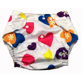Washable Reusable Cloth Baby Diaper Without Insert- White Hearts