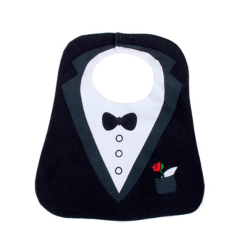 Waterproof Cute Tuxedo Pattern 3 Layer Toddler Baby Saliva Towel Baby Bibs (Black) - picture 2