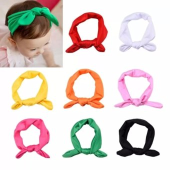 Welink 8pcs Baby Girl Elastic Turban Headbands Head Wrap Rabbit EarHair Band - intl