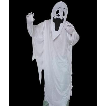 White Ghost Gown with Hoodie Mask and Gloves Adult Halloween Costume - picture 2