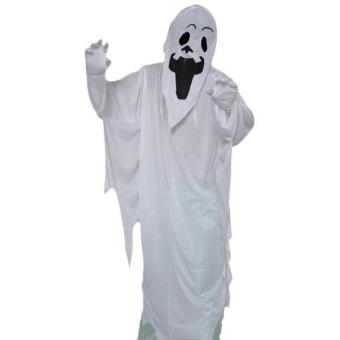 White Ghost Gown with Hoodie Mask and Gloves Adult Halloween Costume