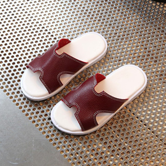 White New style children's sandals leather slippers children's slippers