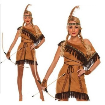 Woman Native American Indian Princess Fancy Dress Cosplay CostumeSuit S - intl