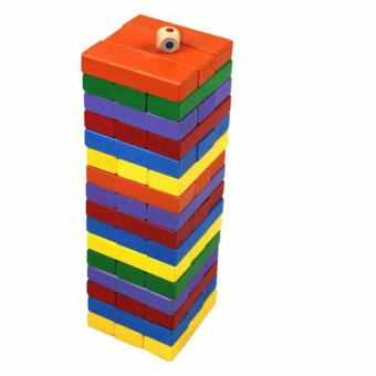 Wood Toys Color Jenga 48 pcs Multiplayer Game Stacko Block Bricks Folds High Tumbling Tower Classic Stacking Game Toy